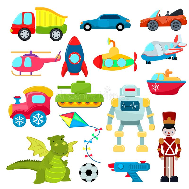 Kids toys vector cartoon games helicopter or ship submarine for children and playing with car or train illustration. Boyish set of robot and dinosaur in royalty free illustration