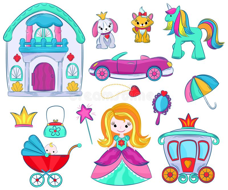 Kids toys vector cartoon girlie games for children in playroom and playing with childish car or girlish doll stroller. And princess illustration set of unicorn royalty free illustration
