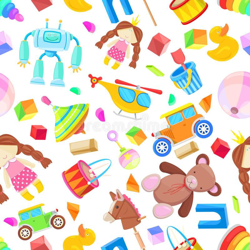 Kids toys vector seamless pattern. Color toy for baby boy and girl, cartoon illustration. Cute white background print. Kids toys vector seamless pattern. Color stock illustration