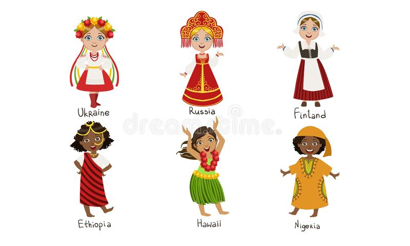 Kids in Traditional Costumes Set, Ukraine, Russia, Finland, Ethiopia, Hawaii, Nigeria Vector Illustration. On White Background royalty free illustration