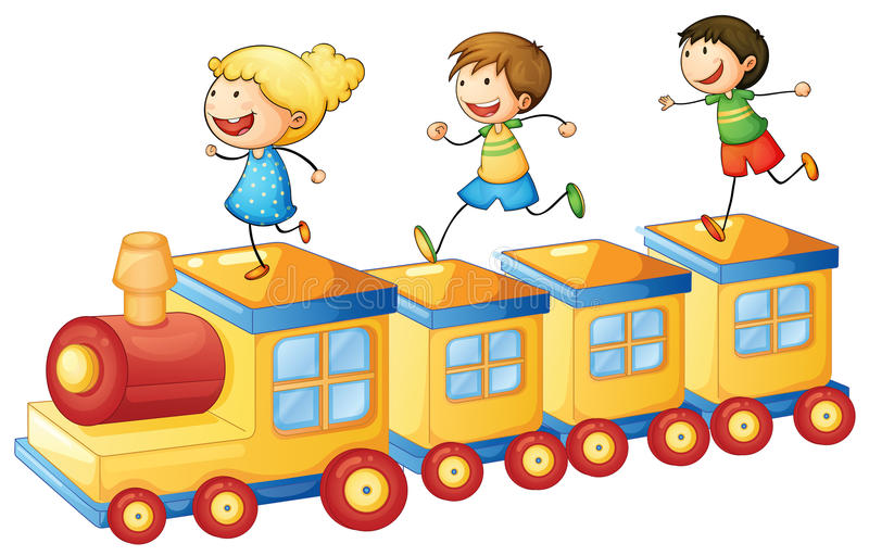 Kids On Train Royalty Free Stock Photography