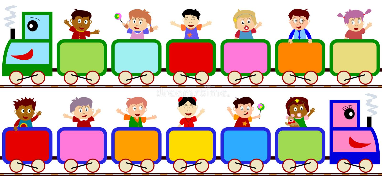 Kids on Train Banners. Kids on a train (boy and girl version), isolated on white background. Useful as a banner, page for your scrapbook and greeting cards. Eps vector illustration