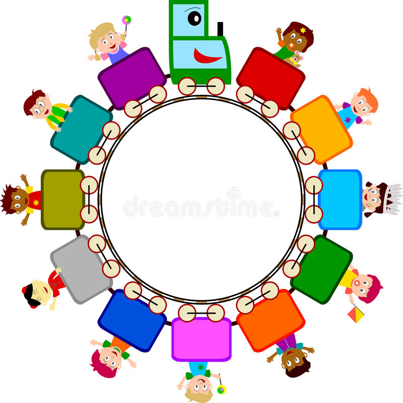 Kids on Train Logo. Illustration of multicultural kids on a train symbolizing tolerance, peace, hope, our future. Empty space for a logo or a message. Eps file