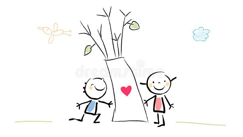 Kids tree love vector illustration