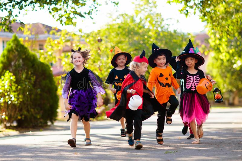 Kids trick or treat. Halloween fun for children stock photography