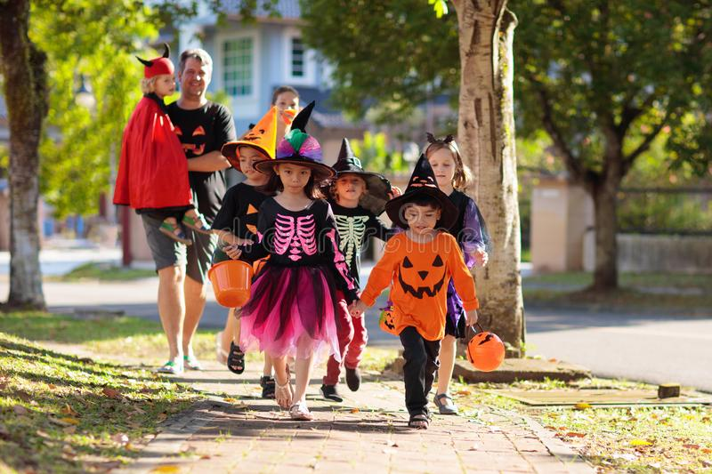 Kids trick or treat. Halloween fun for children stock images