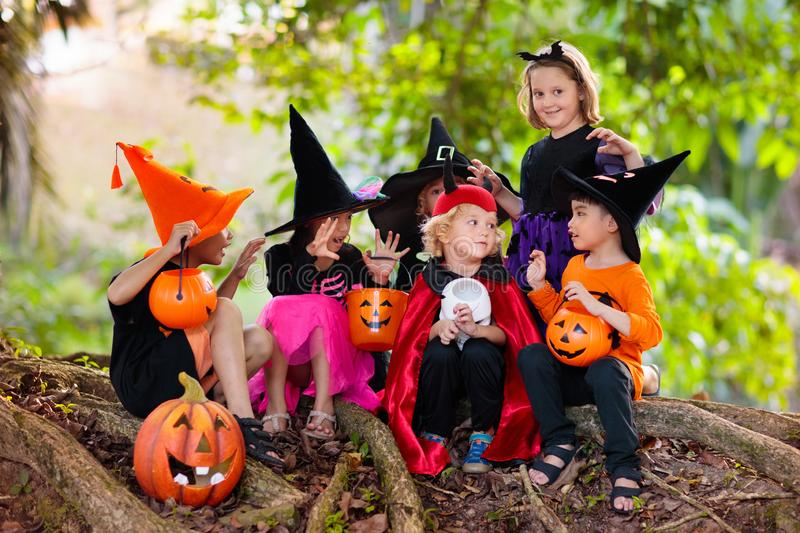 Kids trick or treat. Halloween fun for children royalty free stock photo