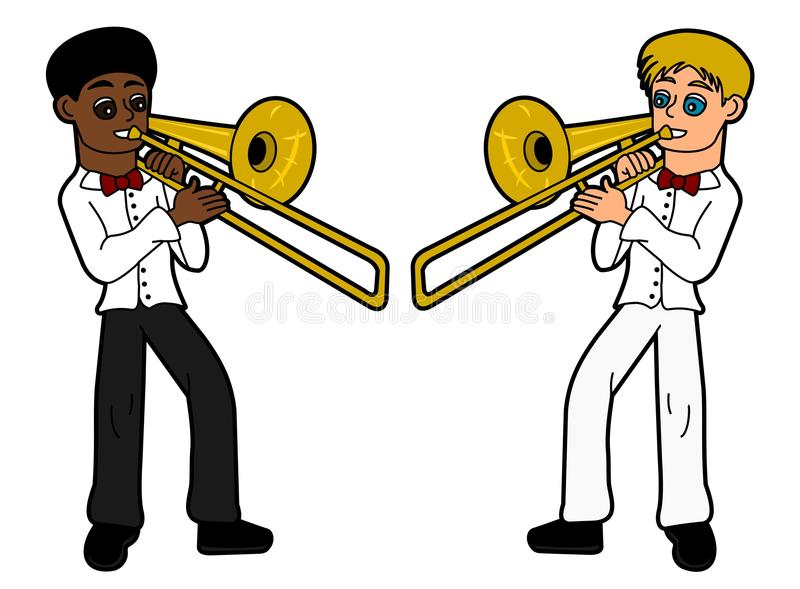 Kids - trombone players royalty free stock images