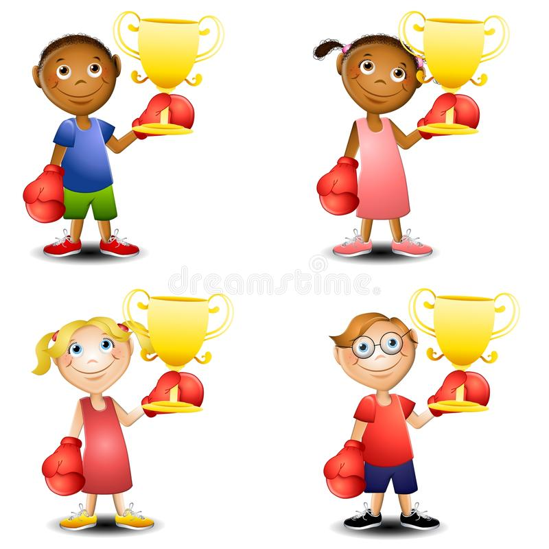 Kids Trophies Boxing Gloves. An illustration featuring your choice of kids wearing boxing gloves and holding trophies vector illustration
