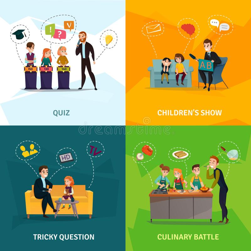 Kids Show Concept Icons Set. Kids TV show concept icons set with culinary battle symbols flat isolated vector illustration royalty free illustration