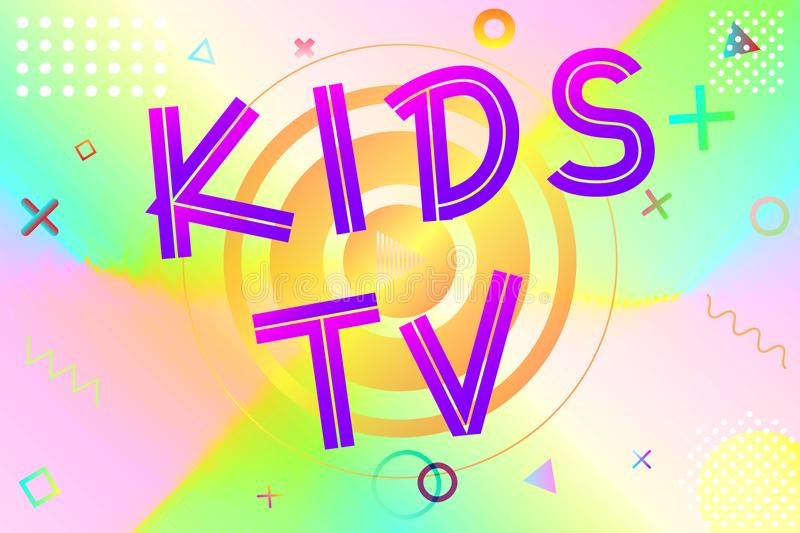Kids tv text. Colorful lettering in modern gradient on bright geometric pattern background, stock vector illustration vector illustration