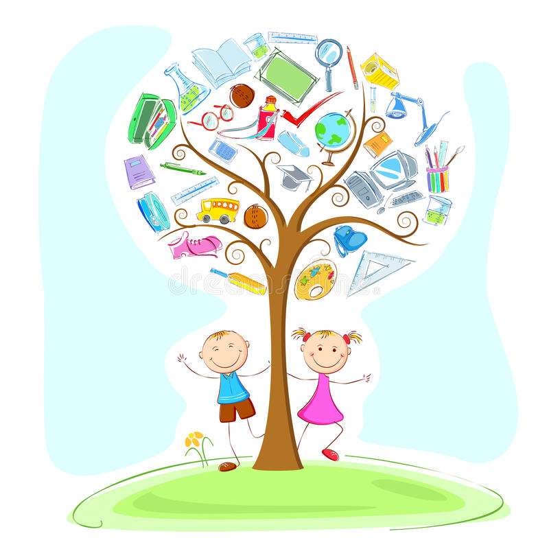 Kids under Wisdom Tree stock illustration