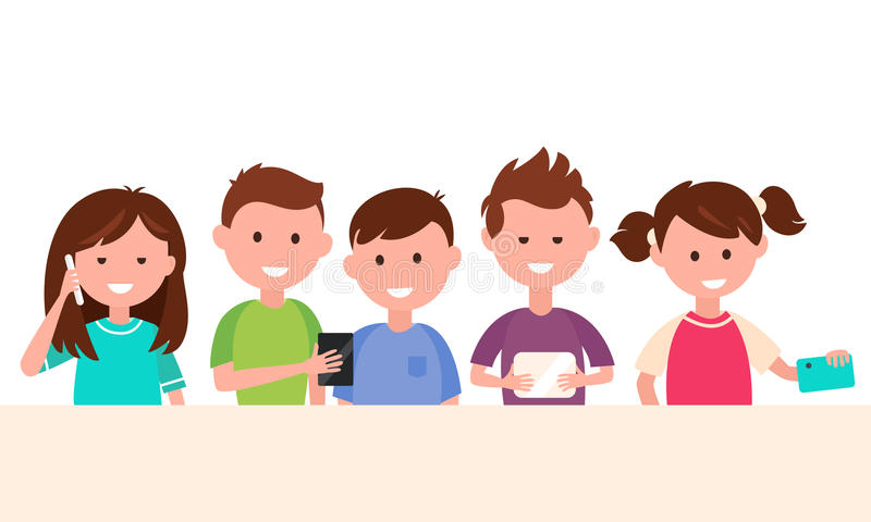 Kids Using Their Gadgets. Children and Technology Concept Illustration stock illustration