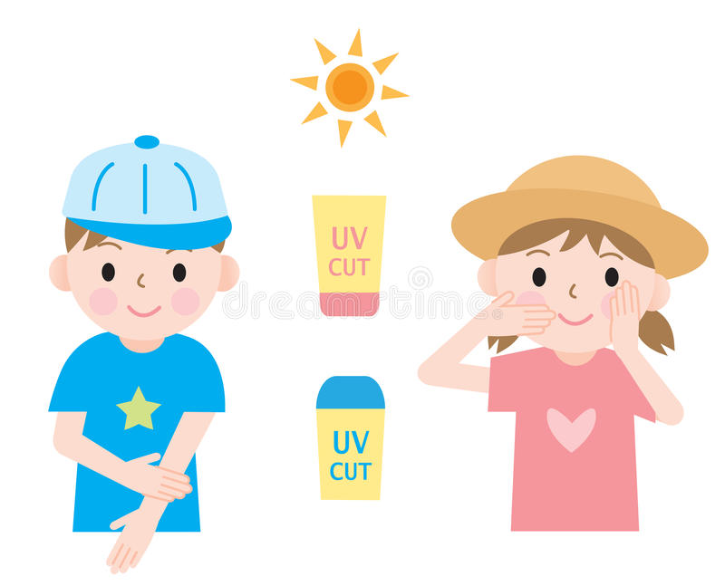 5e0ed2f34b7f5 Kids UV protection. Kids protect their skin from ultraviolet rays with  sunscreen and hats stock