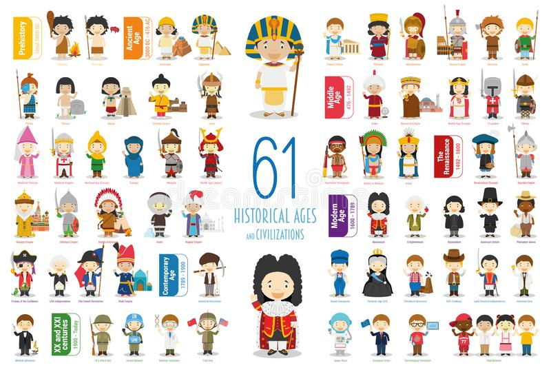 Kids Vector Characters Collection: Set of 61 Historical Ages and Civilizations in cartoon style. stock illustration