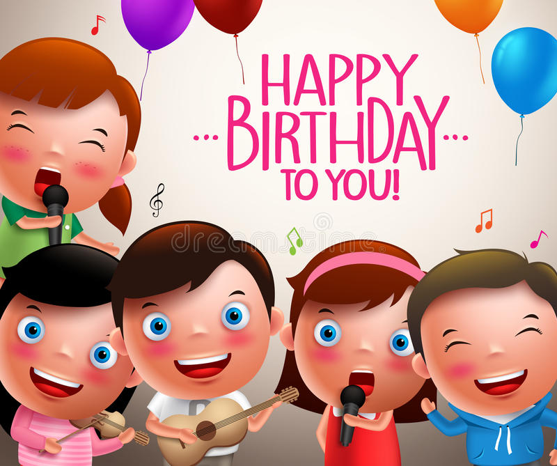 Kids vector characters singing happy birthday and happy playing musical instruments vector illustration