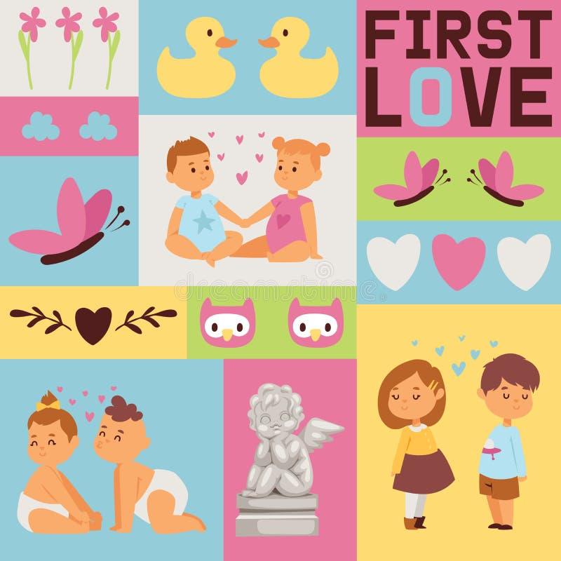 Kids seamless pattern vector children girl boy characters in first love backdrop set cartoon loving baby illustration vector illustration