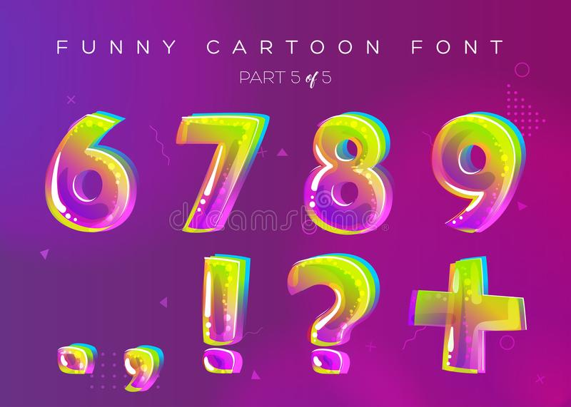 Kids Vector Font in Cartoon Style. Bright and Colorful 3D Letter stock illustration