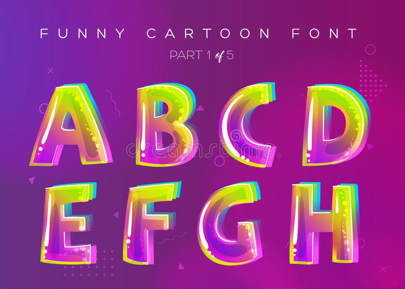 Kids Vector Font in Cartoon Style. Bright and Colorful 3D Letter vector illustration