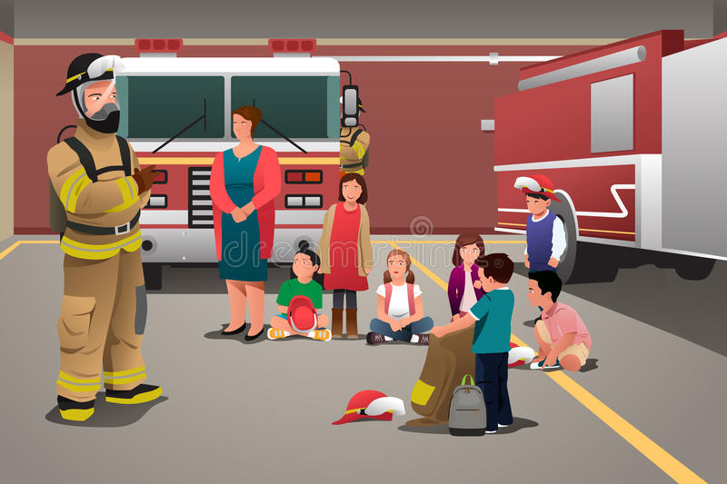 Kids Visiting a Fire Station. A vector illustration of school kids visiting a fire station for education concept vector illustration