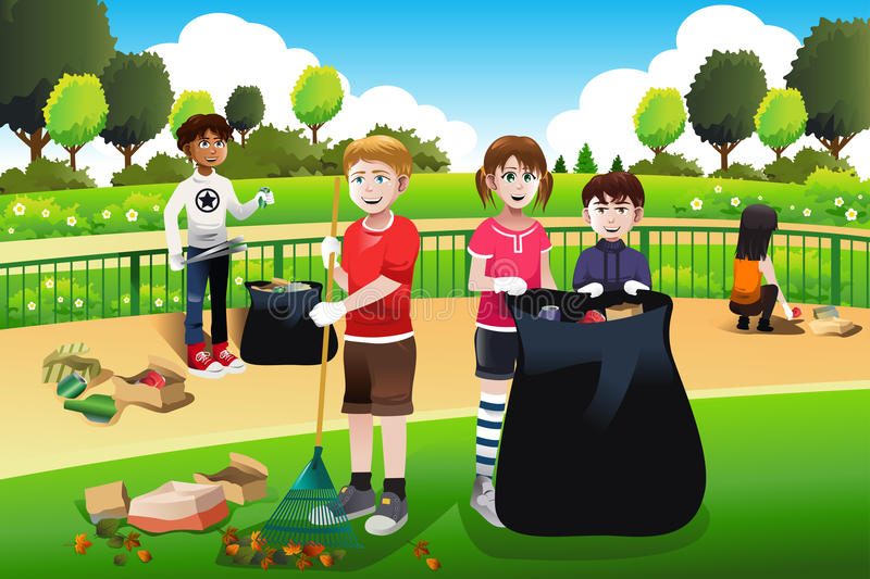 Kids volunteering cleaning up the park vector illustration