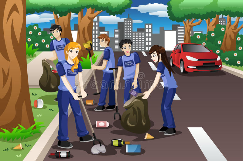 Kids volunteering by cleaning up the road vector illustratie