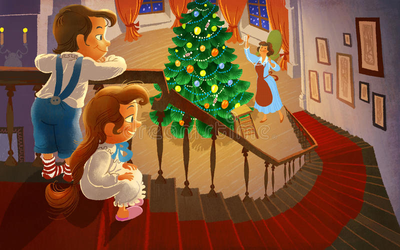 Kids are waiting the Christmas Eve royalty free illustration