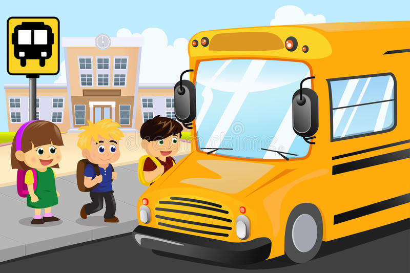 Kids waiting to get on a school bus royalty free illustration