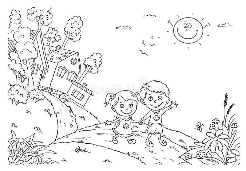 Kids walking in the countryside stock illustration