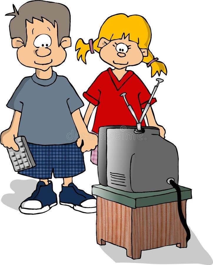 Kids watching TV vector illustration