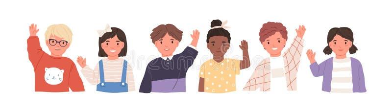 Kids waving hands flat vector illustrations set. Smiling little children in casual clothing greeting gesture. Cheerful. Elementary school students, kindergarten stock illustration