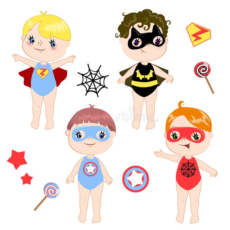 Kids wearing colorful costumes of different superheroes retro set isolated on white background cartoon vector. Kids wearing colorful costumes of different vector illustration