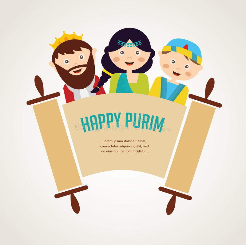 Kids wearing costumes from Purim story. arranged vector illustration