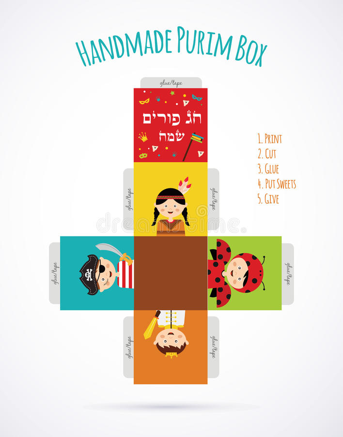 Kids wearing costumes from Purim story. template stock illustration
