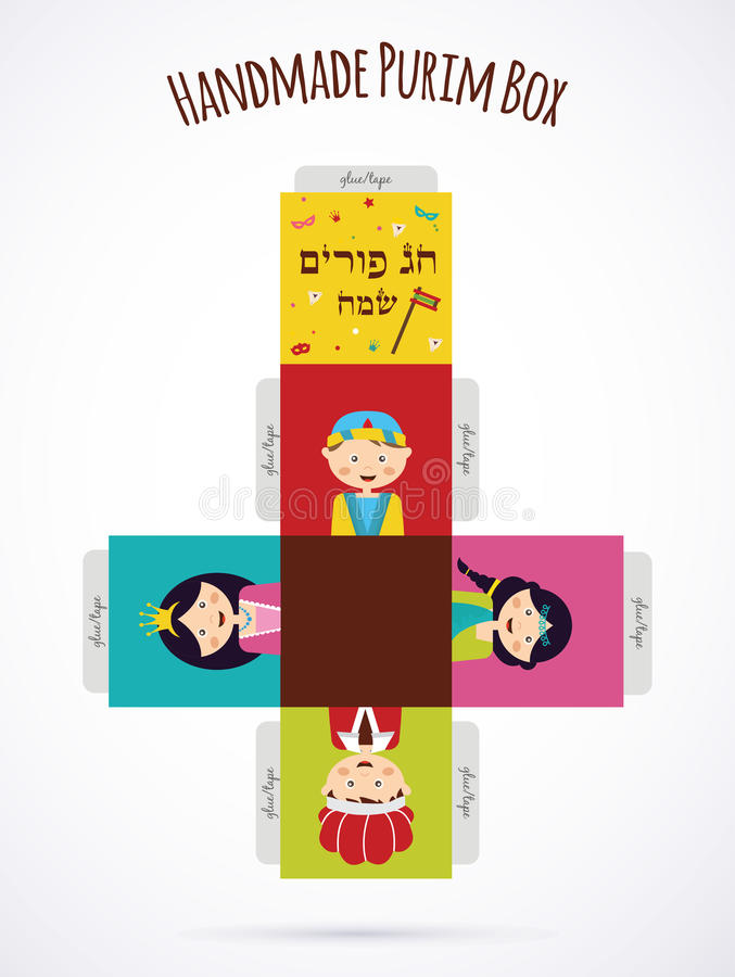 Kids wearing costumes from Purim story. template vector illustration