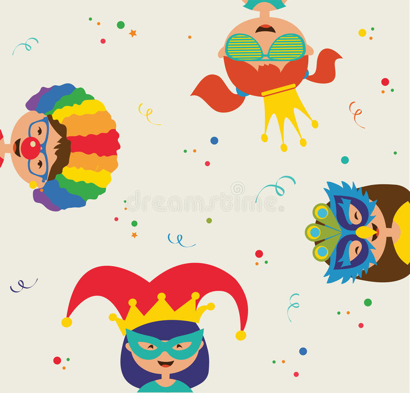 Kids wearing different costumes. Jewish holiday Purim vector illustration