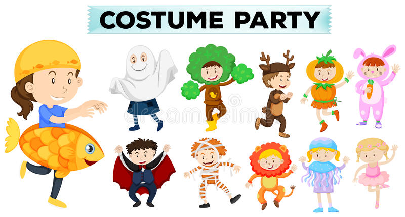 Kids wearing different party costumes vector illustration