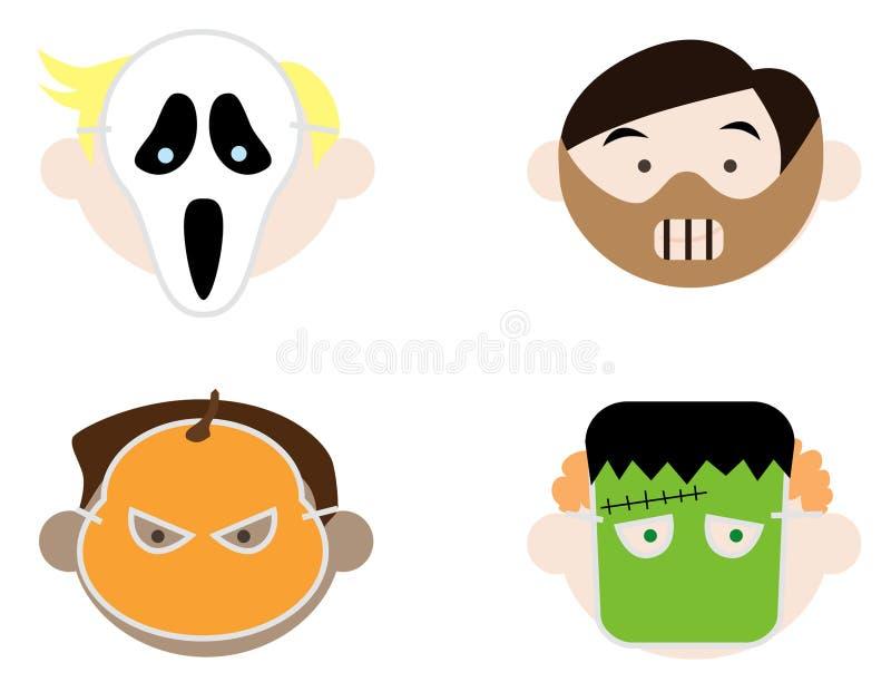 Kids Wearing Halloween Masks Stock Vector - Illustration of black ...