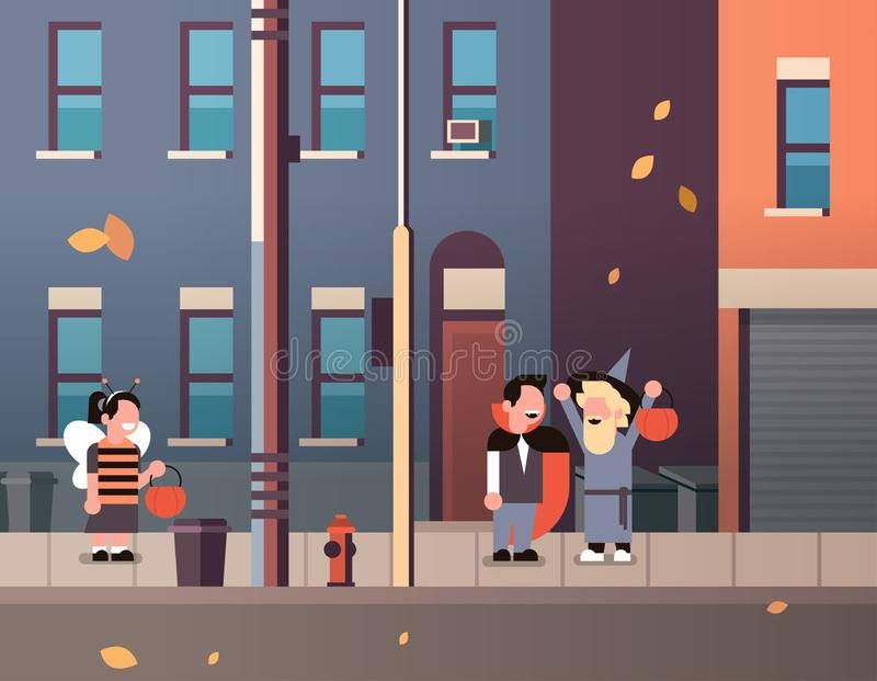 Kids wearing monsters bee dracula wizard costumes walking town holiday concept tricks or treat happy halloween cartoon royalty free illustration