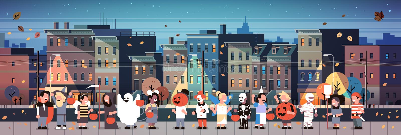 Kids wearing monsters costumes walking night town holiday concept cityscape background tricks or treat happy halloween vector illustration