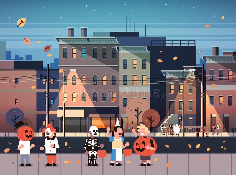 Kids wearing monsters costumes walking night town holiday concept cityscape background tricks or treat happy halloween stock illustration