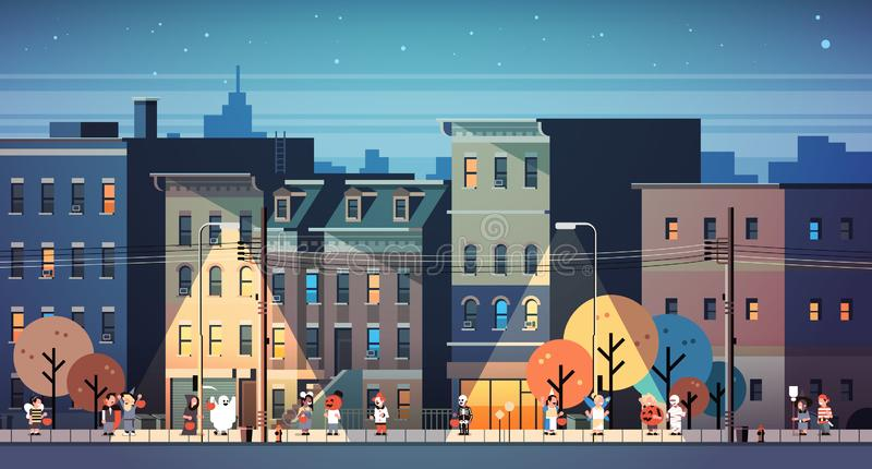 Kids wearing monsters costumes walking night town holiday concept cityscape background tricks or treat happy halloween royalty free illustration