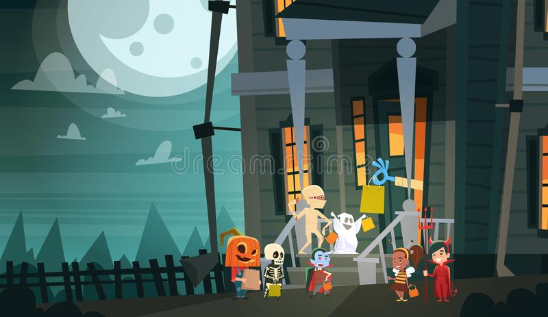 Kids Wearing Monsters Costumes Walking To House Get Candy Tricks Or Treat Happy Halloween Banner Holiday Concept. Vector Illustration stock illustration