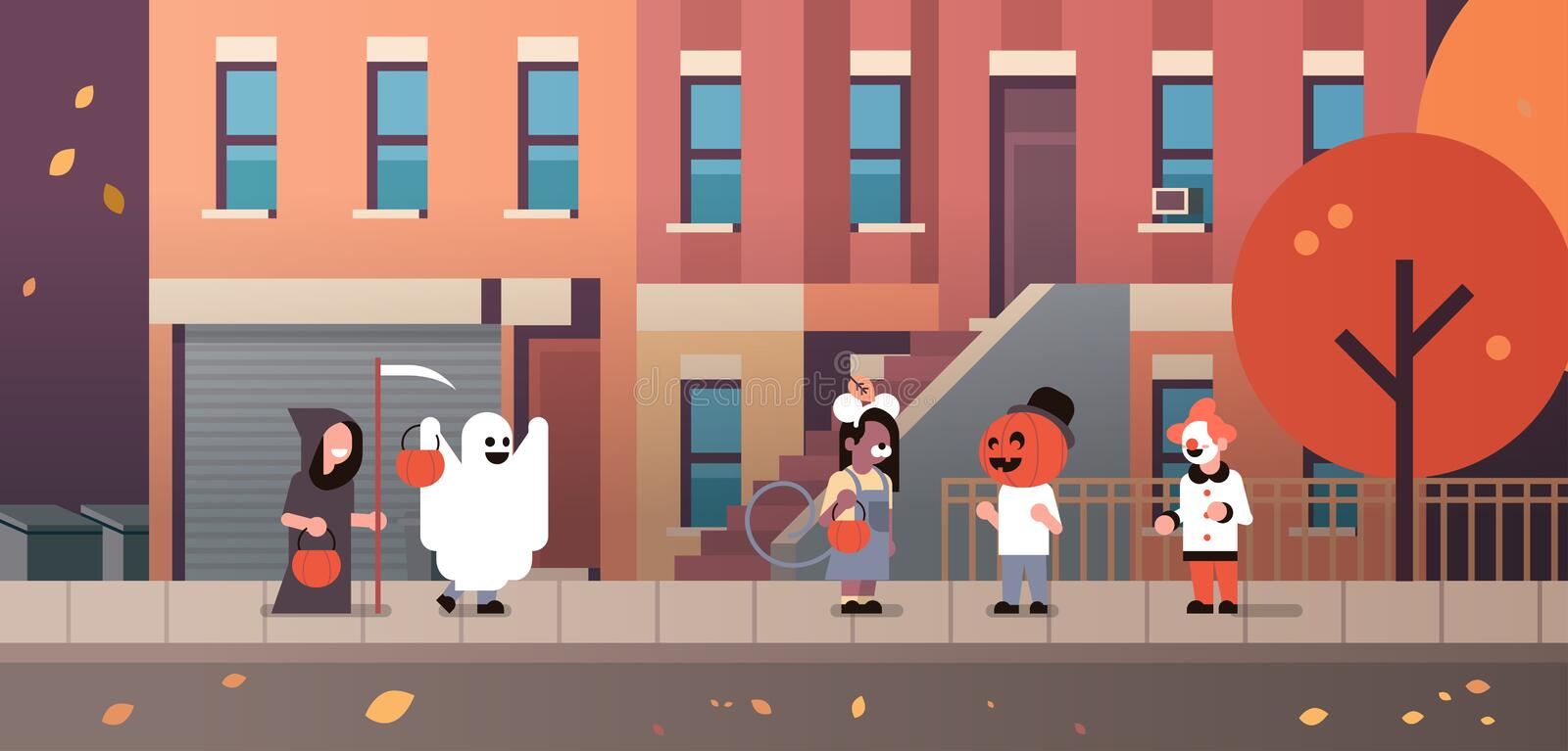 Kids wearing monsters ghost pumpkin wizard clown costumes walking town holiday concept tricks or treat happy halloween vector illustration