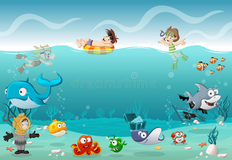 Kids wearing Scuba diving suit and swimming with fish under the sea. Cartoon divers in underwater world with corals stock illustration