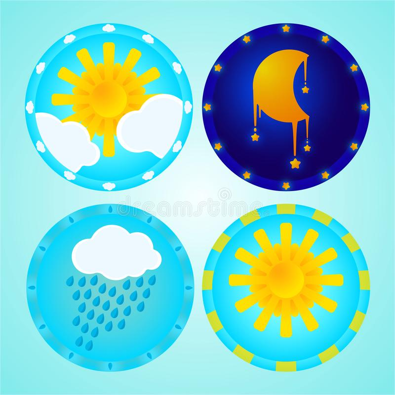 Kids weather icons set with moon. Sun and rain clouds . cute cartoon icons set for children and babies for print and web decoration stock illustration