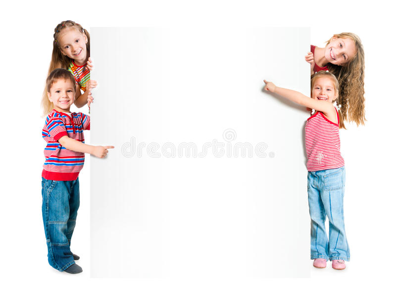 Download Kids with white banner stock photo. Image of child, empty - 59596030