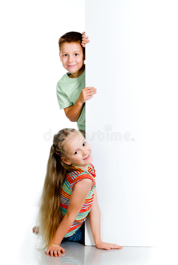 Kids with white board stock photos