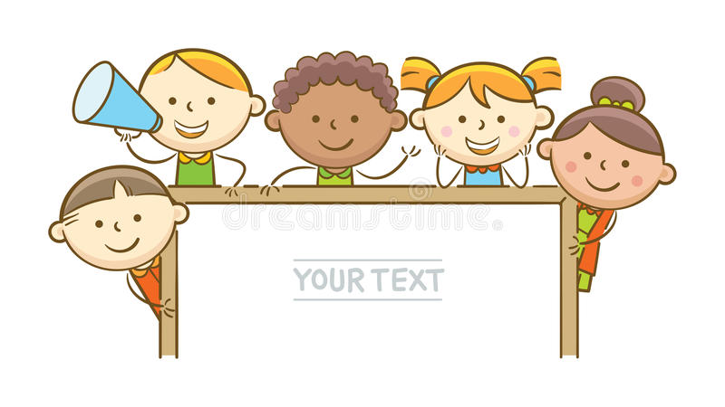 Kids And Whiteboard. Doodle illustration: Kids showing horizontal whiteboard royalty free illustration