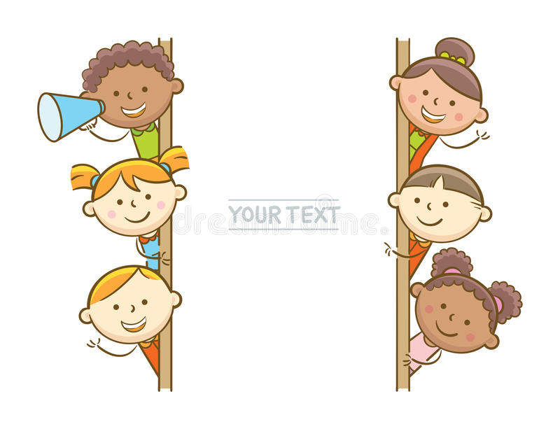 Kids And Whiteboard. Doodle illustration: Kids showing vertical whiteboard vector illustration
